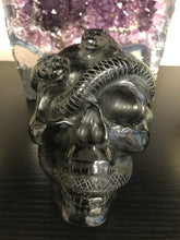 Load image into Gallery viewer, Black Obsidian Skull with Snakes