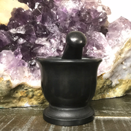 "3"" x 2"" Black Soapstone Mortar and Pestle"