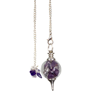 Amethyst and Clear Quartz Sephoroton Pendulum