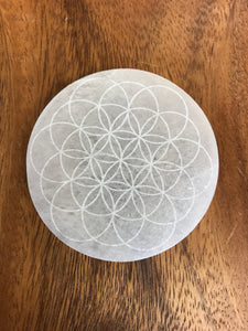 Flower of Life Engraved Selenite Disc