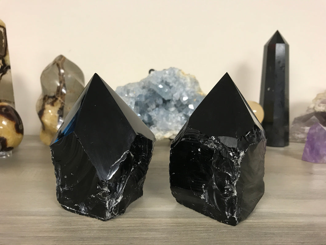 Black Obsidian Rough with Polished Point