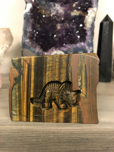 Carved Triceratops in Tiger Eye