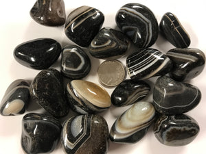Tumble Banded Black Agate