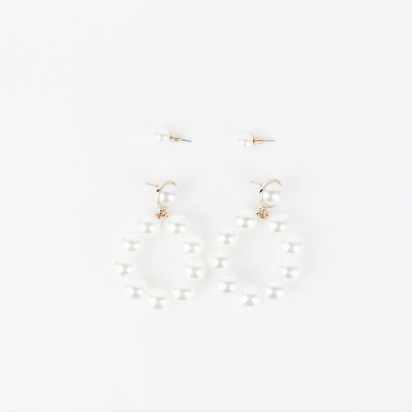 PACK OF 2 PEARL EARRINGS - svnx