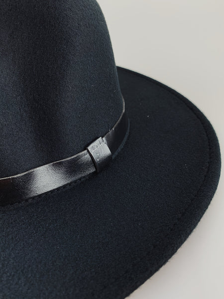 Black Fedora with PU Leather Ribbon