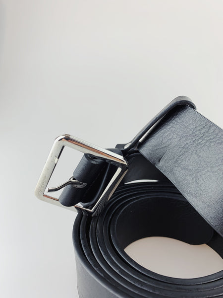 Black PU Leather Double Belt