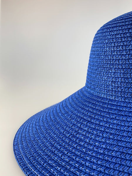 Alma Blue Wide Brim Woven Straw Hat