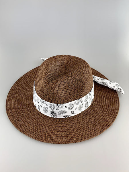 Audrey Brown Brim Woven Straw Hat