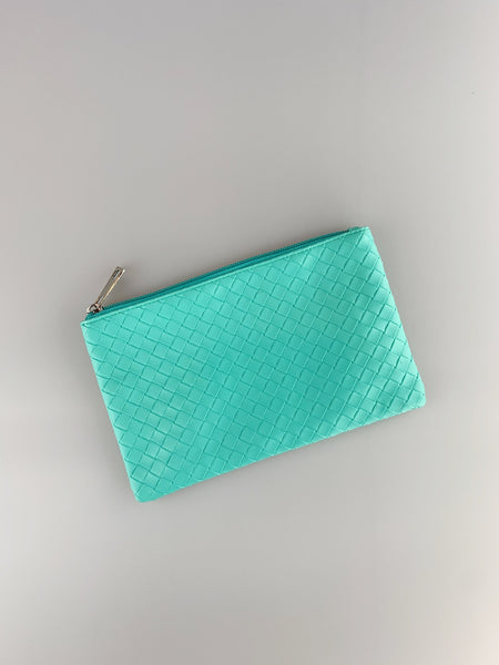 Avah Aqua Blue Quilted Zip Purse