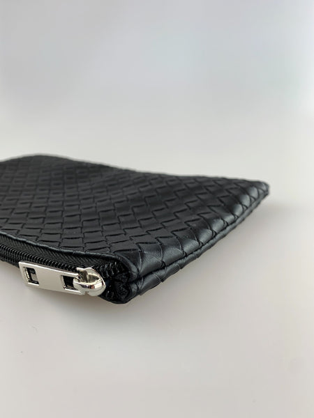 Avah Black Quilted Zip Purse