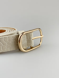 Beige Croc Effect Belt
