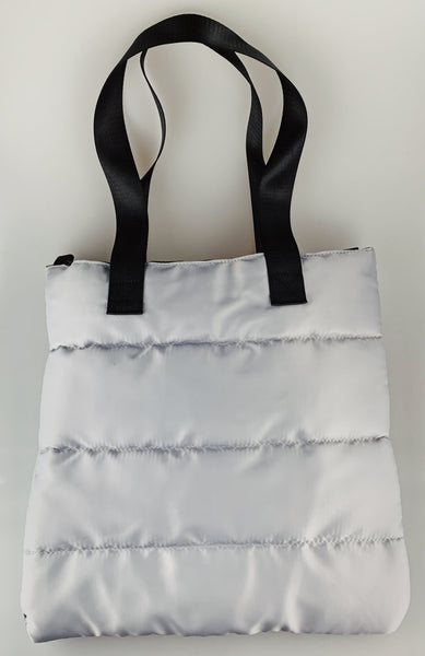Grey Puffer Tote Bag