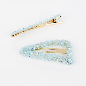 PACK OF 2 TEAL EMBELLISHED HAIR CLIPS - svnx