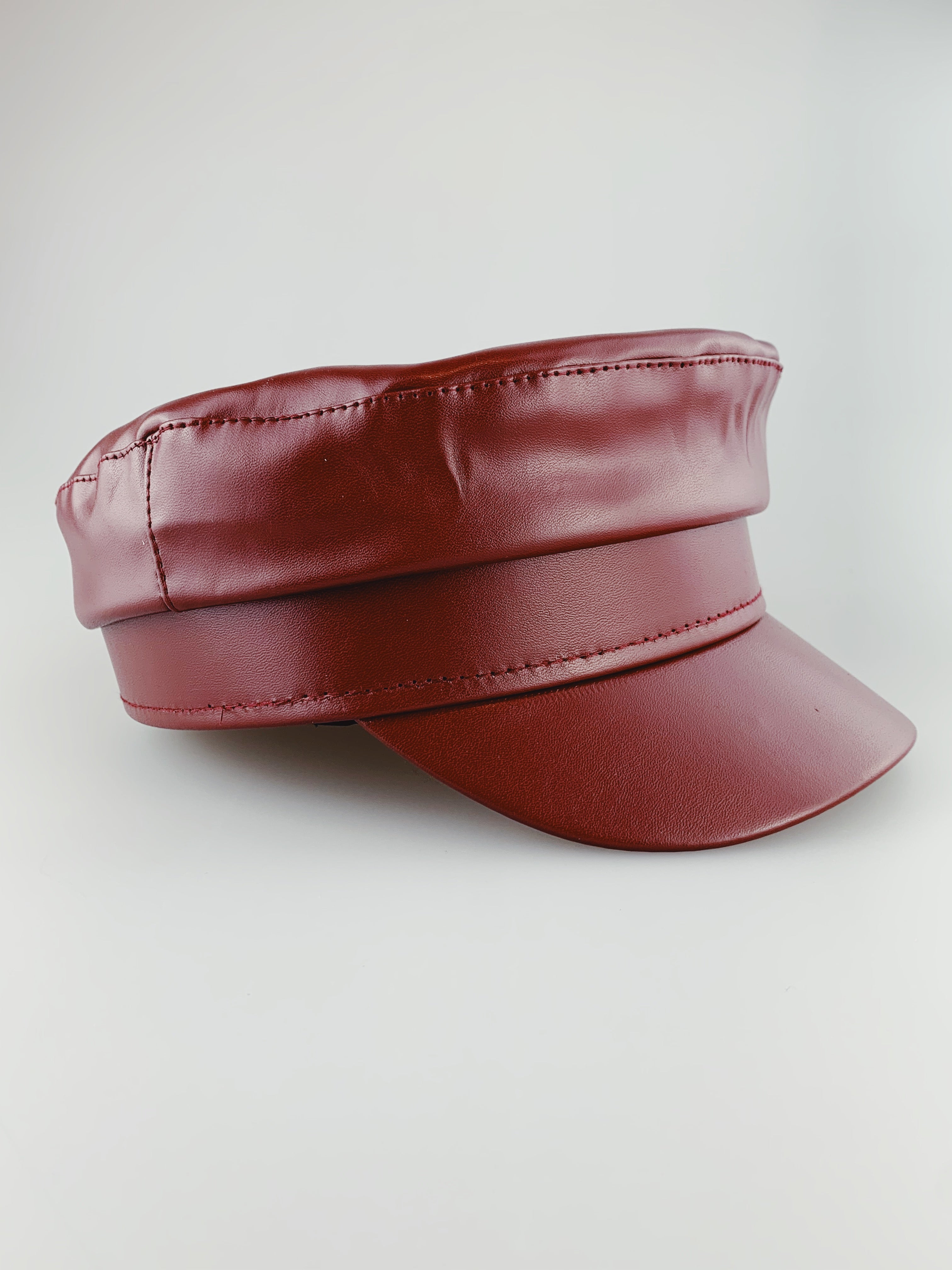 PU Leather Baker Boy - Red