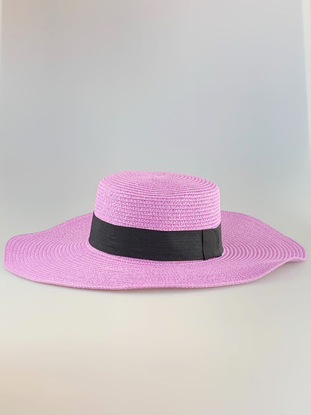 Layla Lilac Wide Brim Woven Straw Hat