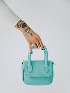 Nia Mini Top Handle Back With Cross Body Strap In Aqua Blue