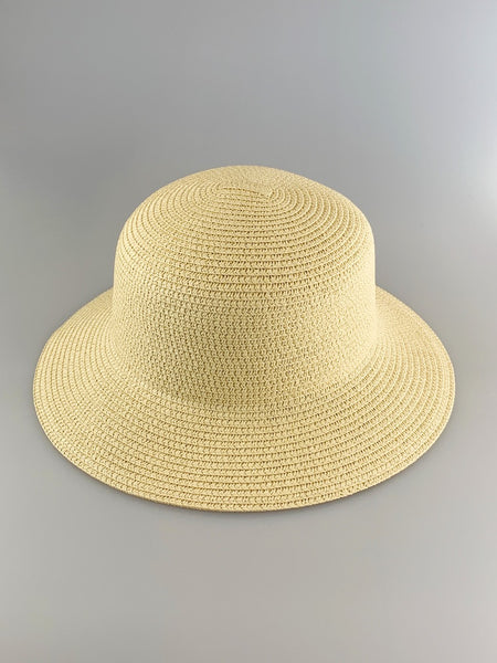 Olivia Cream Woven Straw Bucket Hat