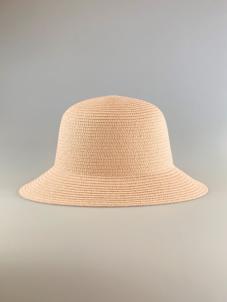 Olivia Pink Woven Straw Bucket Hat