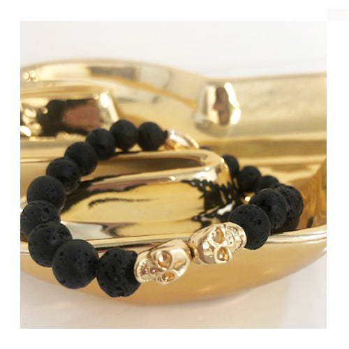 NATURAL STONE BRACELET WITH GOLD SKULLS - svnx