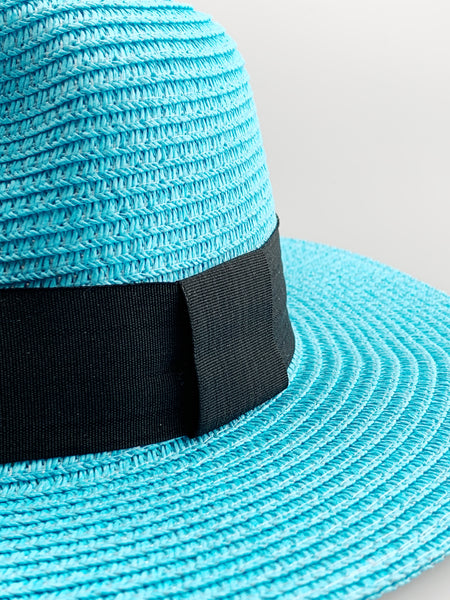 Riley Aqua Blue Brim Woven Straw Hat