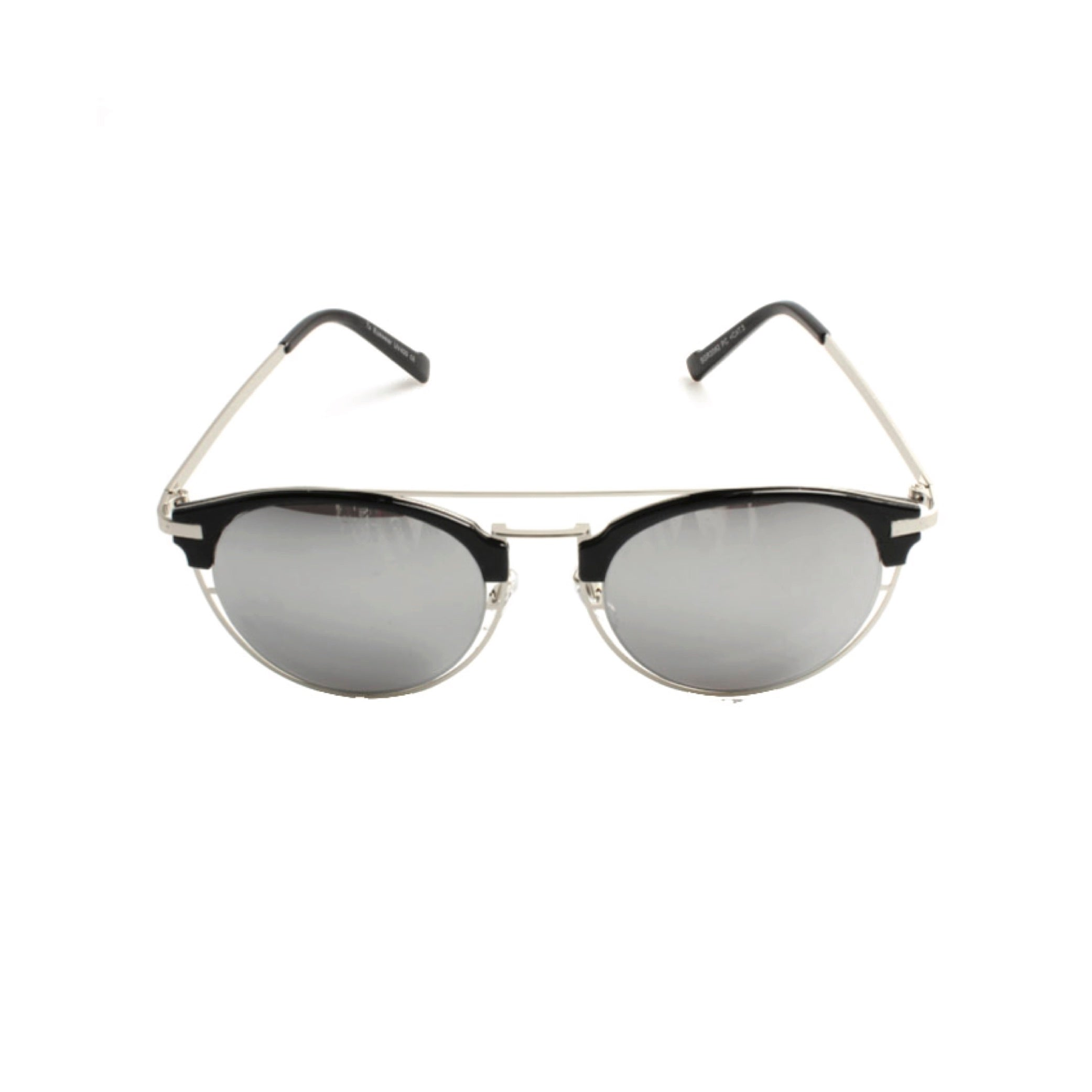 METAL CUT OUT FLAT TOP ROUND FRAME SUNGLASSES - svnx
