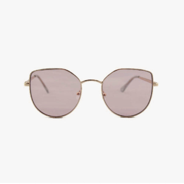 ANGULAR CAT EYE SUNGLASSES WITH SILVER FRAME AND PINK LENSES - svnx