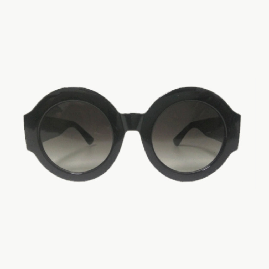 BLACK ROUNDED FRAME WITH BLACK FADED LENSES - svnx