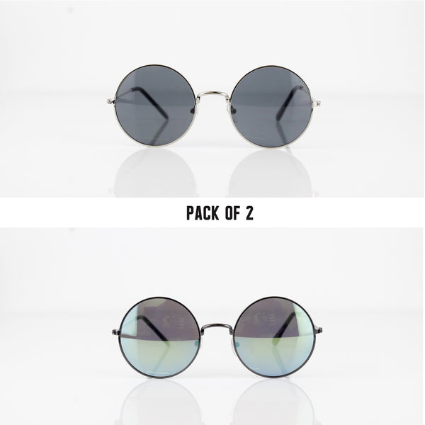 ROUNDED RETRO PACK OF 2 SUNGLASSES - svnx