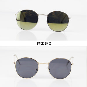 RETRO ROUND 2 PACK SUNGLASSES - svnx