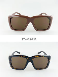 2 Pack Oversized Square Sunglasses In Brown And Tortoise Shell