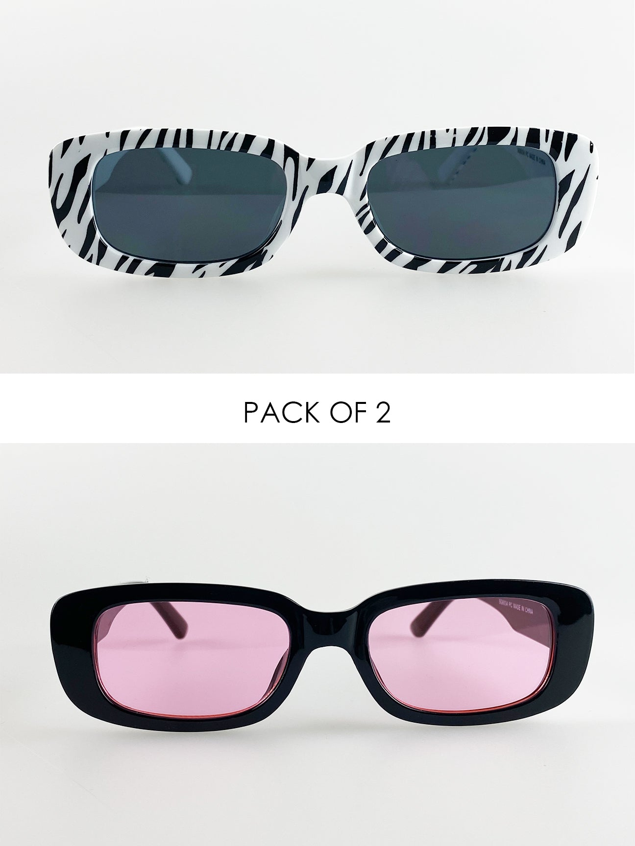 2 Pack Rectangle Sunglasses In Black And Zebra