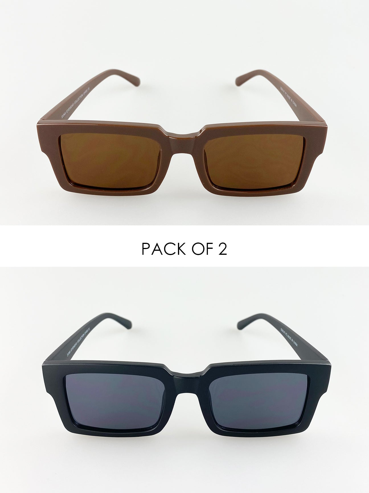 2 Pack Square Sunglasses In Black And Light Brown