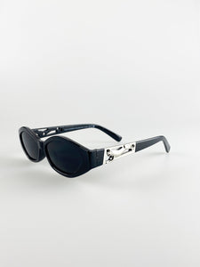 Cateye Sunglasses In Black With Panther Badge