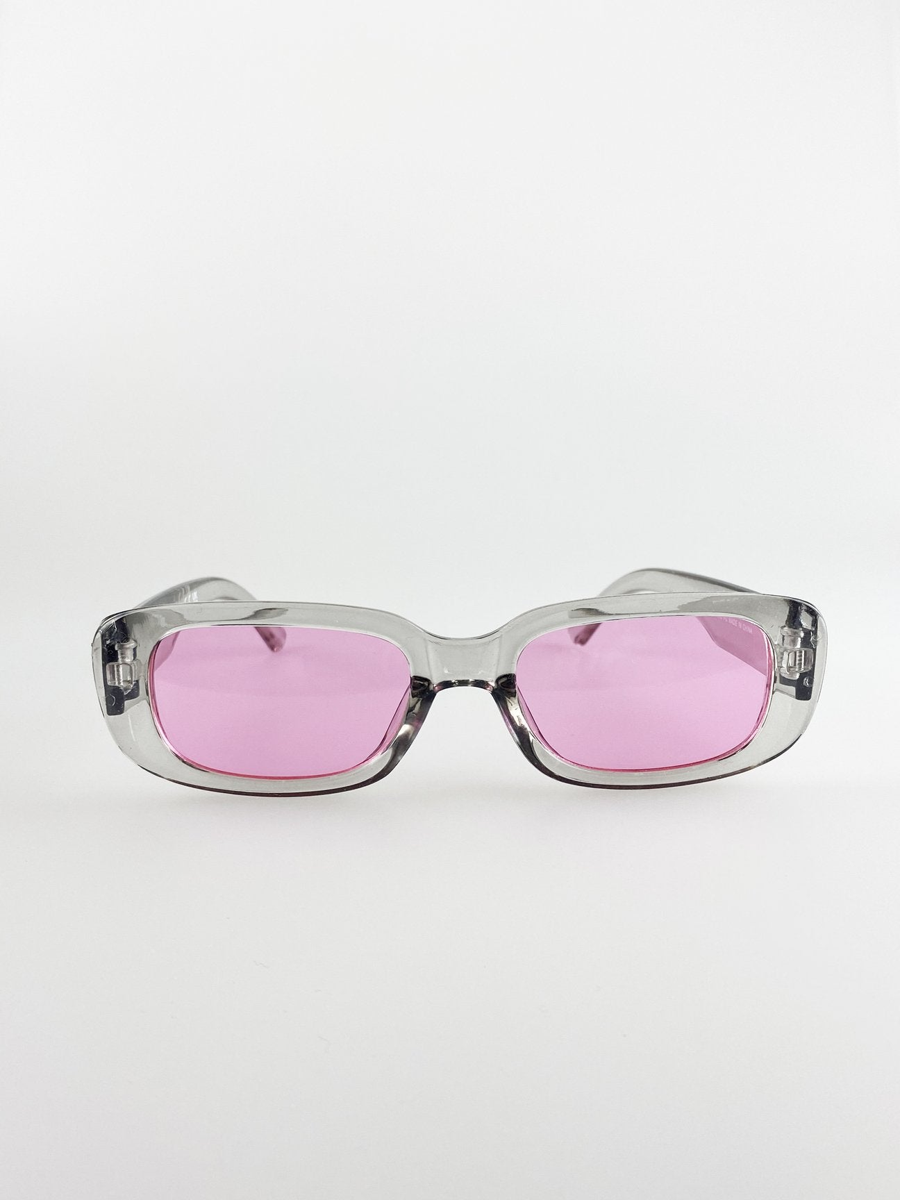 Retro Rectangle Sunglasses With Pink Lenses and Light Gray Frame