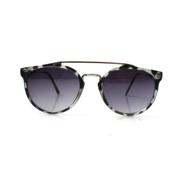 WHITE AVIATOR SUNGLASSES WITH LEOPARD PRINT FRAME - svnx