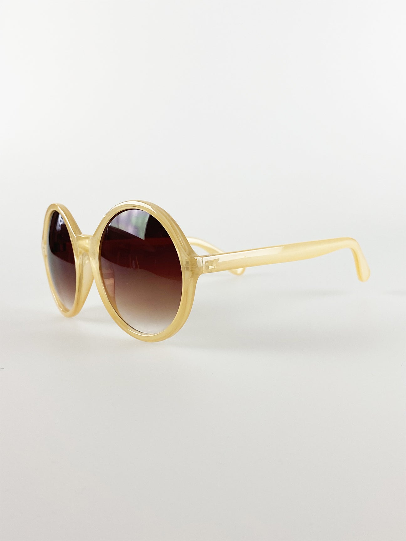 Oversized Round Sunglasses In Light Brown