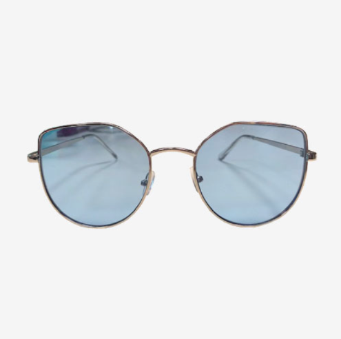 ANGULAR CAT EYE SUNGLASSES WITH SILVER FRAME AND BLUE LENSES - svnx