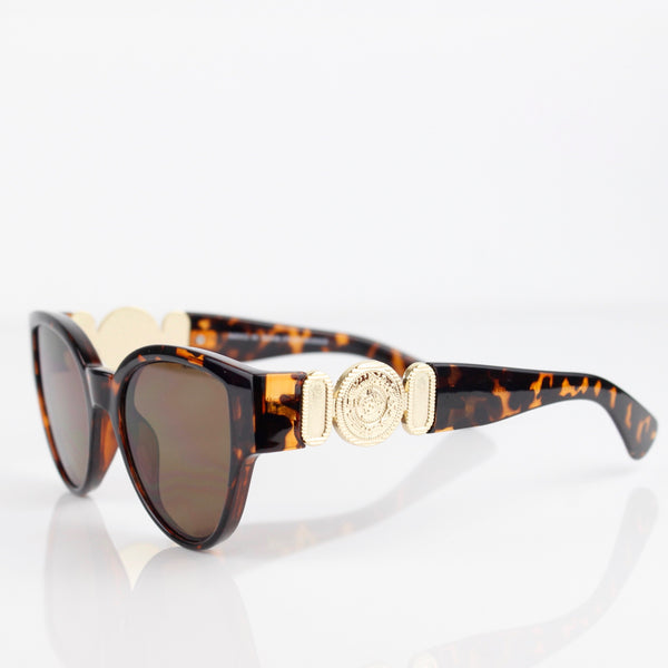 TORTOISE SHELL FRAME WITH GOLD MADALLION SUNGLASSES - svnx