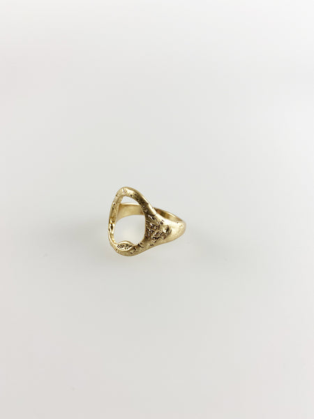 Cutout Signet Gold Ring