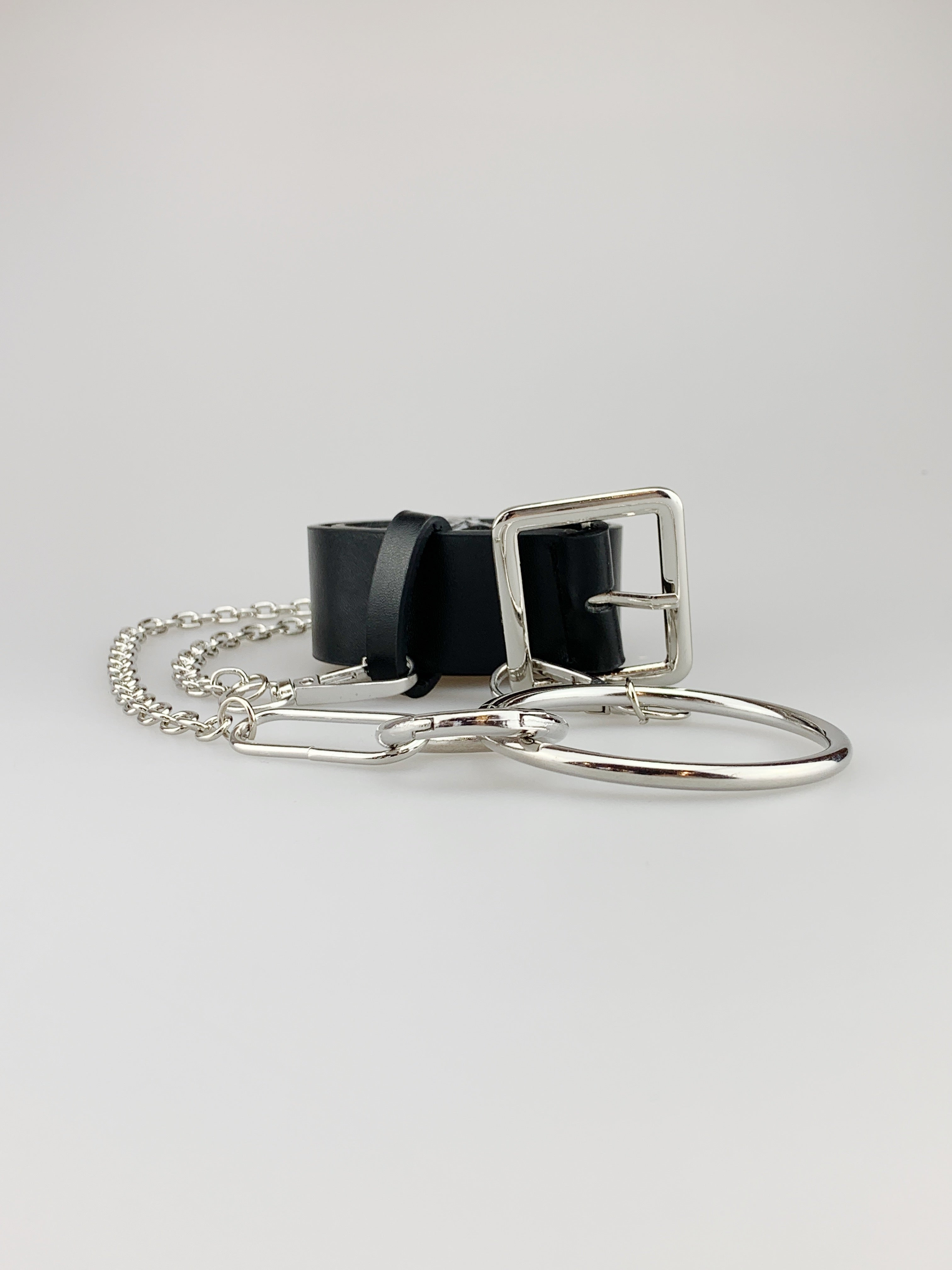 Black Square Buckle Belt with Chain Detail