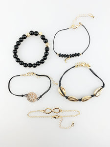 Black Beaded Bracelet Multi Pack