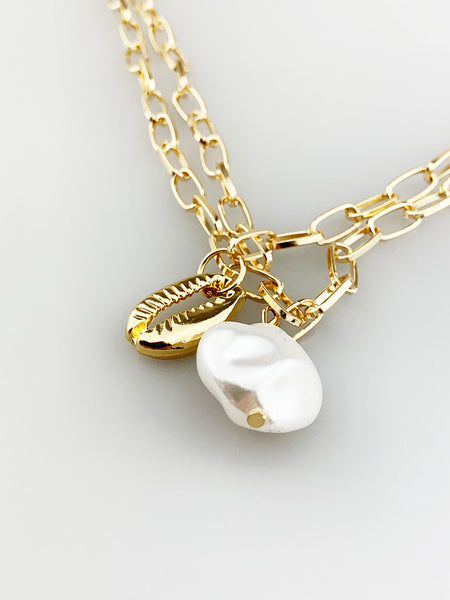 Double Chain Necklace with Pearl and Seashell Pendant