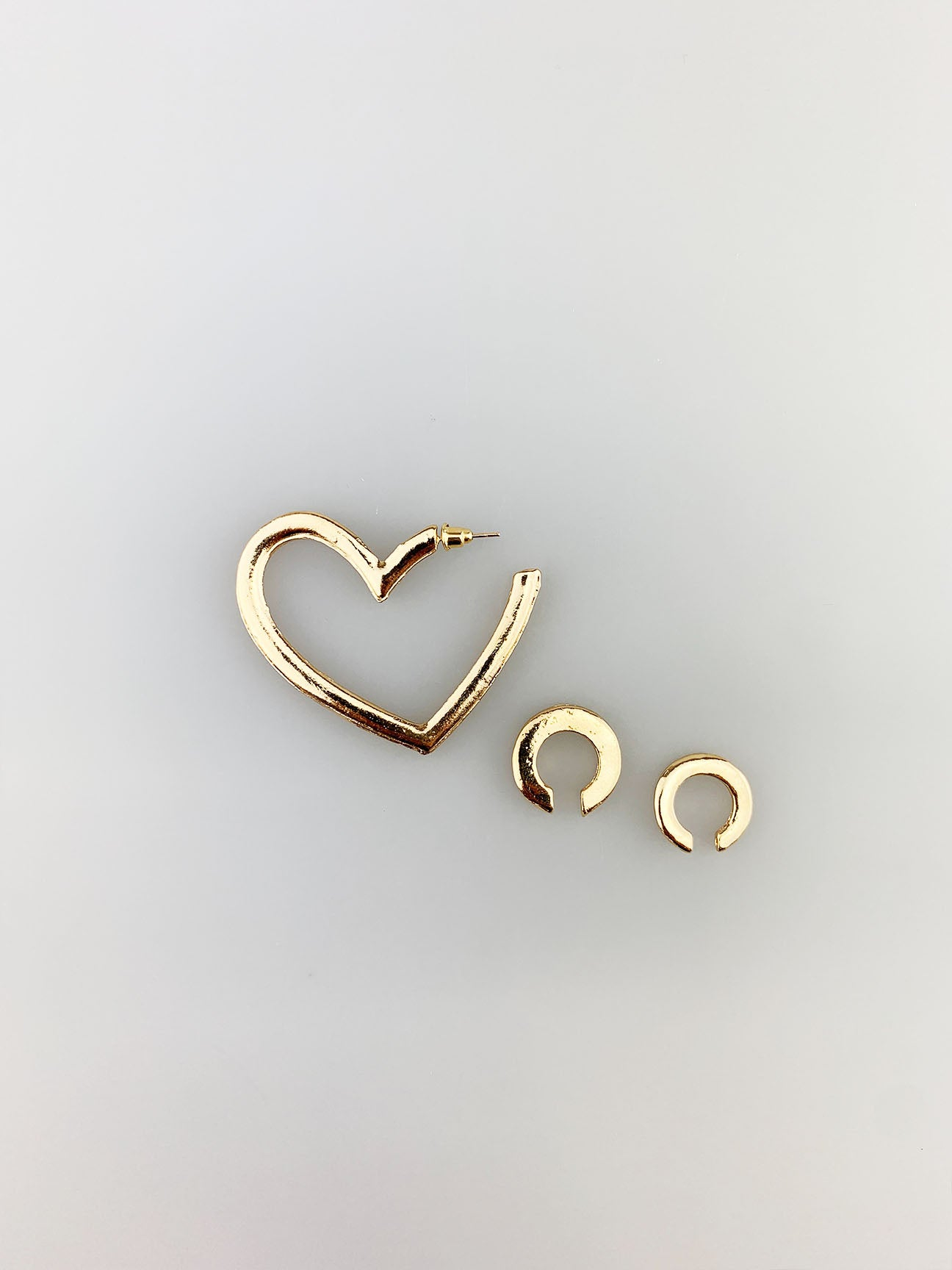 Heart Shaped Earrings with Cuffs