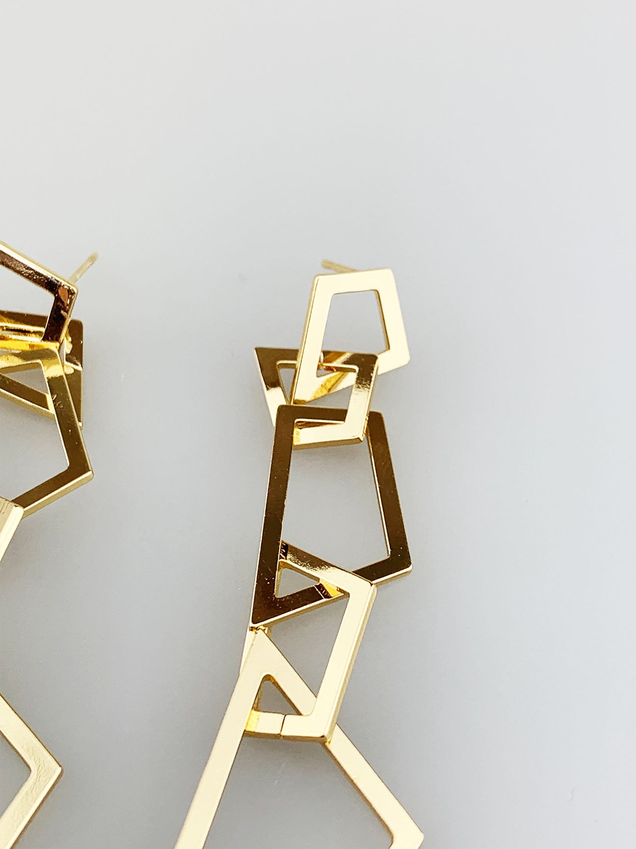 Irregular Square Chain Drop Down Earring