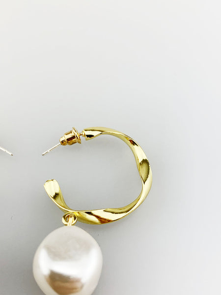 Twisted Hoop Earring with Pearl Drop