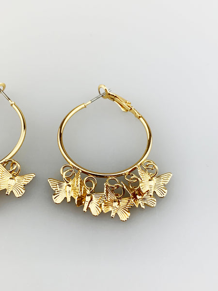 Hoop Earrings with Butterfly Charms