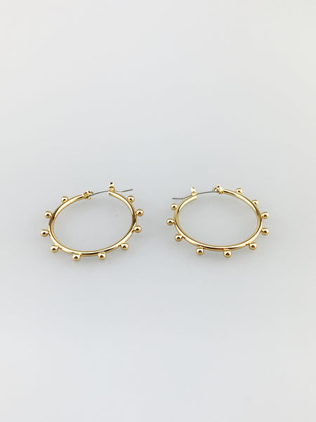 Hoop Earrings with Ball Texture Detail
