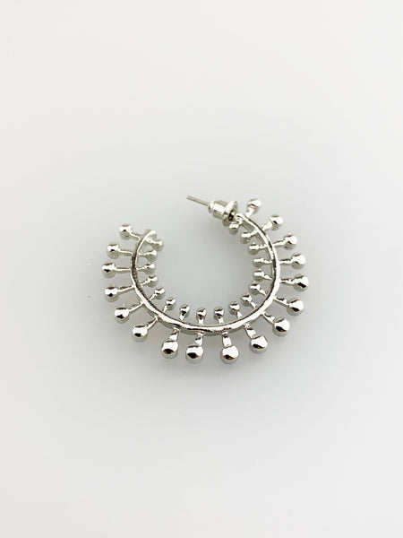 Silver Hoop Earring with Ball Texture Detail