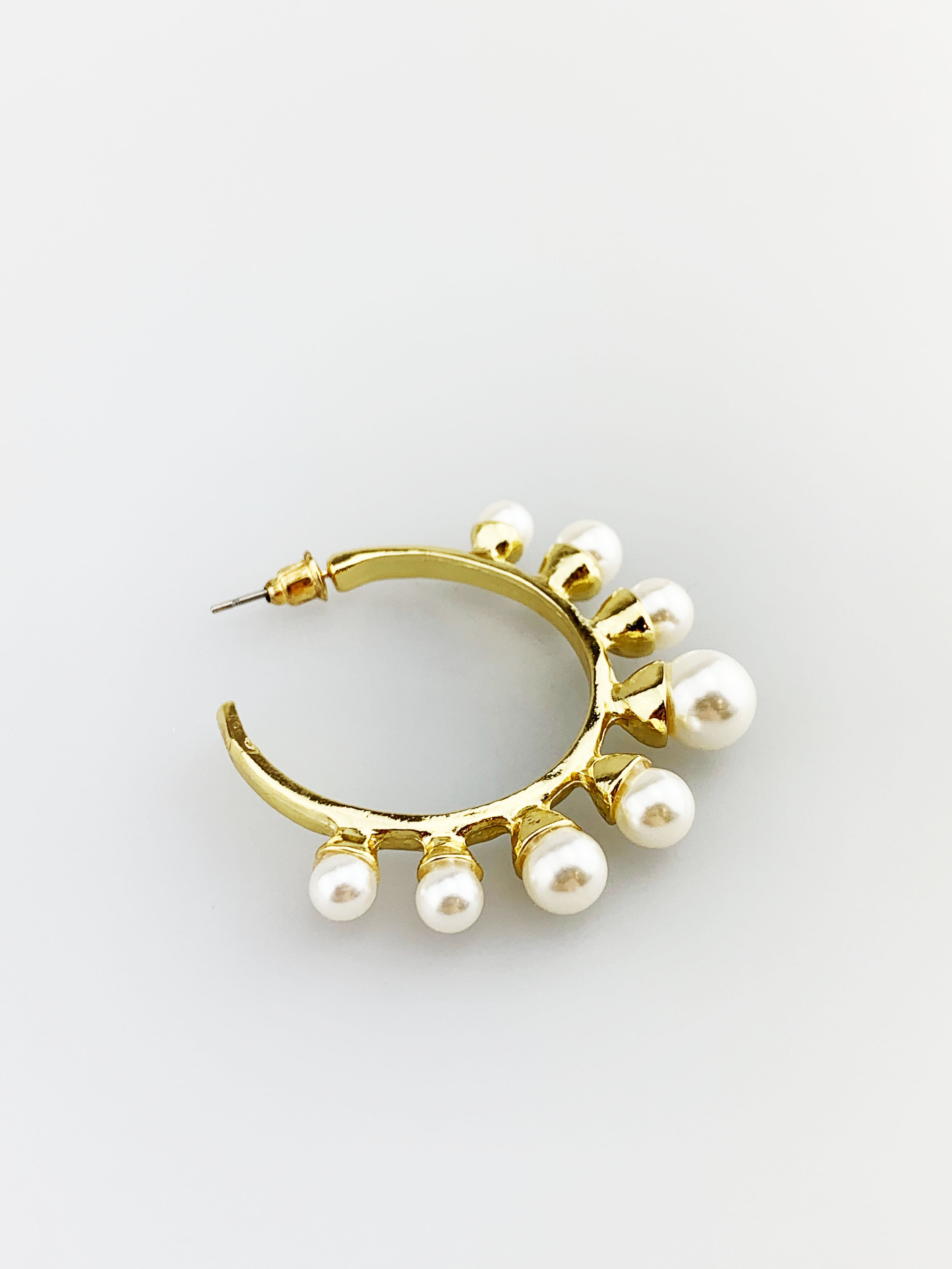 Gold Hoop Earring with Pearl Embellishment