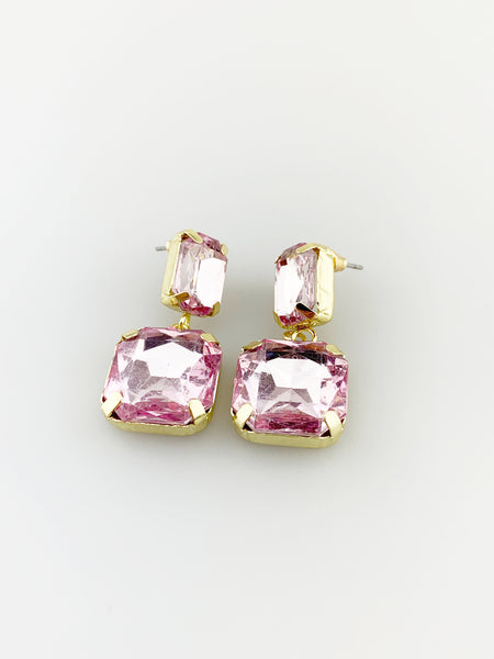 Pink Gem Embellished Drop Down Earring